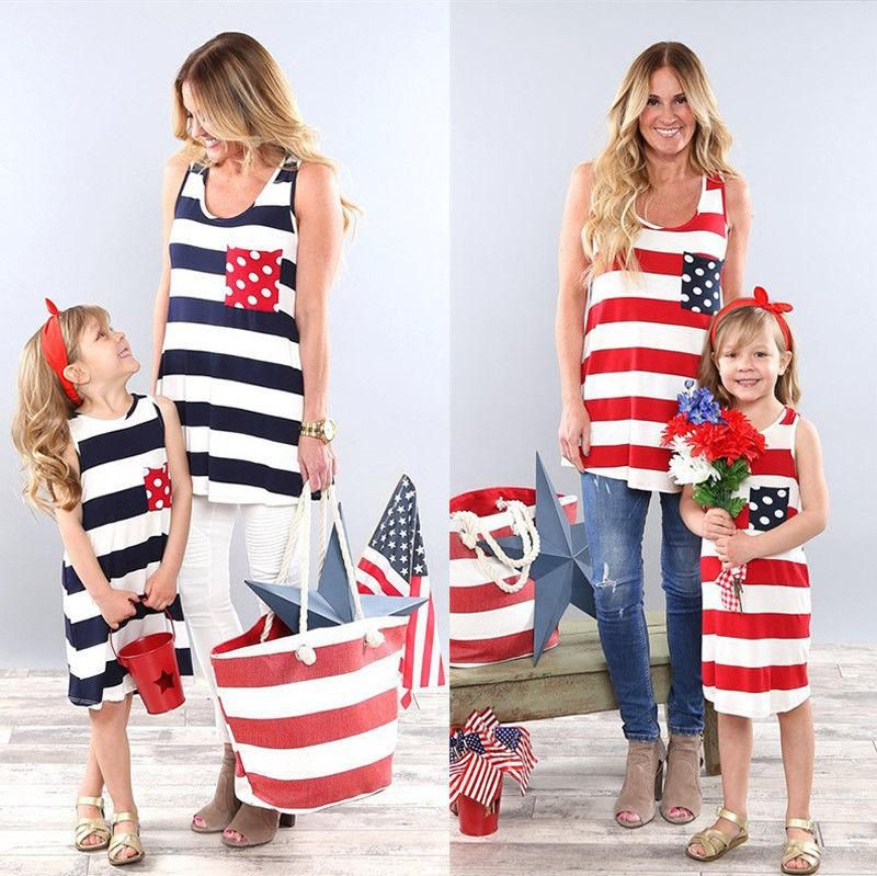 5a7c14f799e Stripe Stitching Sleeveless Mini Dress Family Matching toddler  moms   parenting  family  fashion  clothing  clothes  dresses  outfits  summer   summerdress
