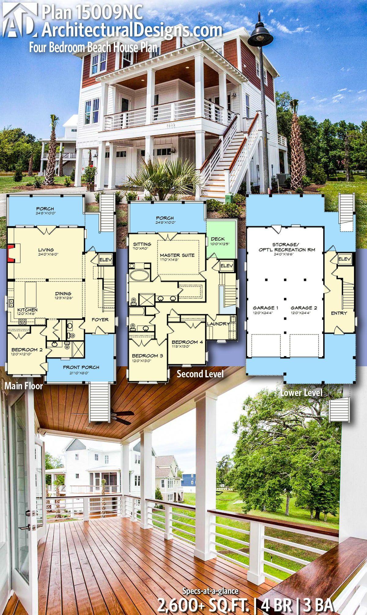 Plan 15009nc Four Bedroom Beach House Plan Beach House Floor Plans Beach House Plan Coastal House Plans