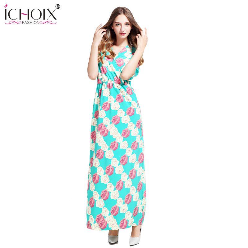 98e12ad7105 Women S-2xl Plus Size Bohemia floral print Maxi dresses Summer Beach  Sundress side split clothes Elegant Floor-Length Long Dress
