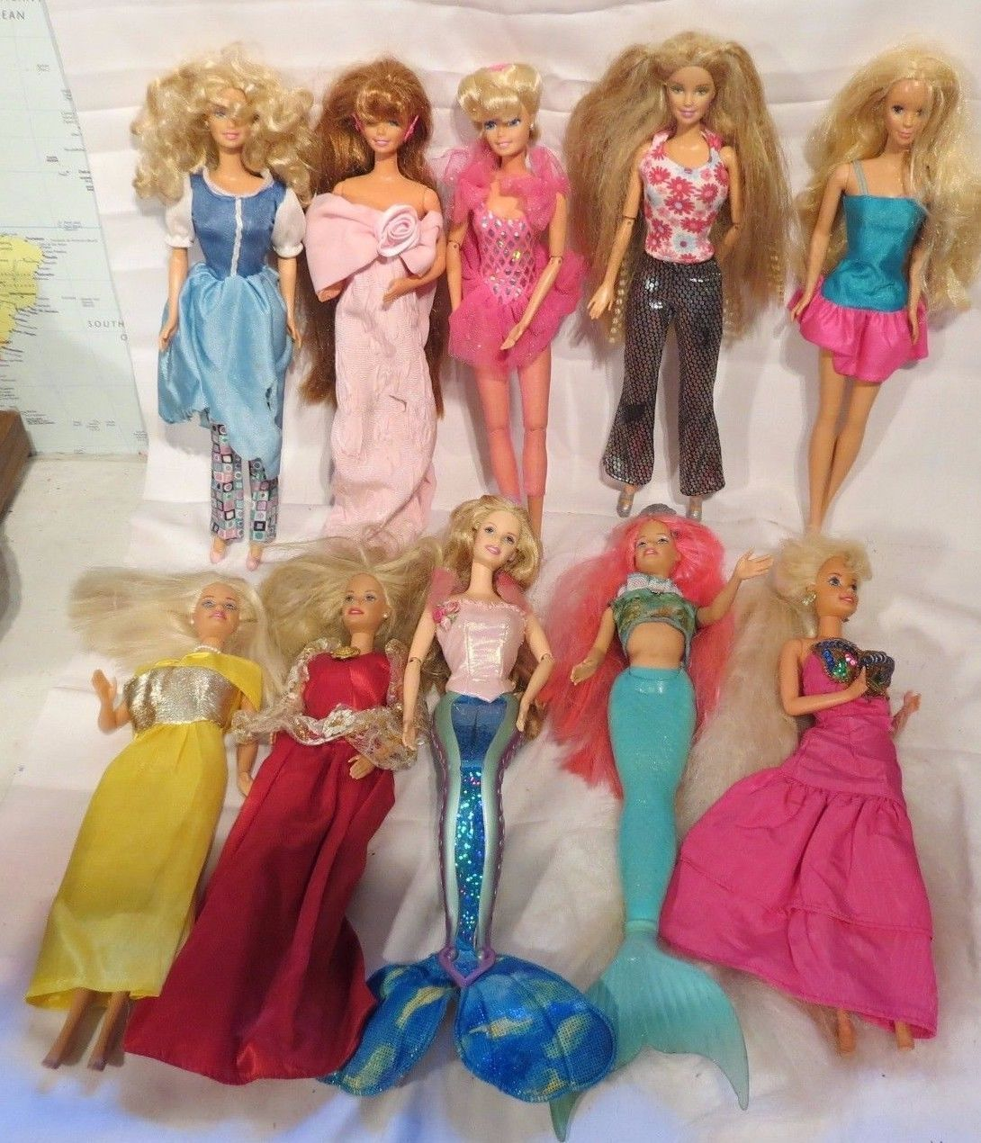 Mattel Barbie Dolls Lot Of 10 1990 S 1 Curly Blonde Hair 1998