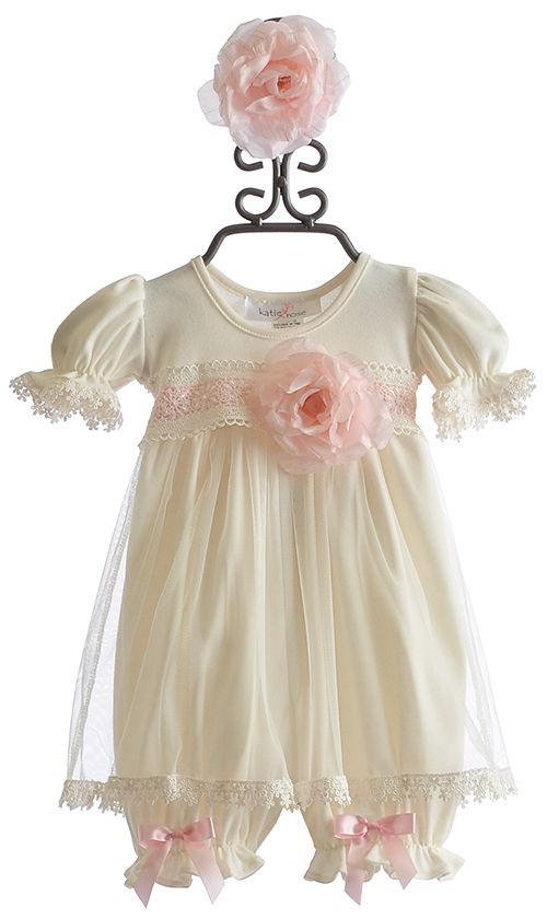 Katie Rose Baby Abby Ivory Bloomer Dress with Flower Headband