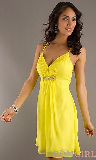 8a56ea1688f Short Spaghetti Strap Dress at PromGirl.com