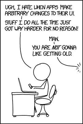 UI Change (xkcd com)   xkcd   Nerd jokes, Funny cartoons