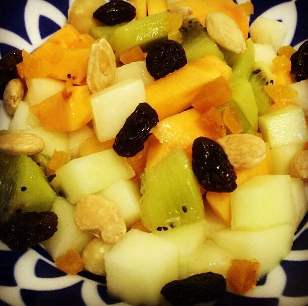 Loving fruits and dried fruits all mixed togeather. The perfect snack