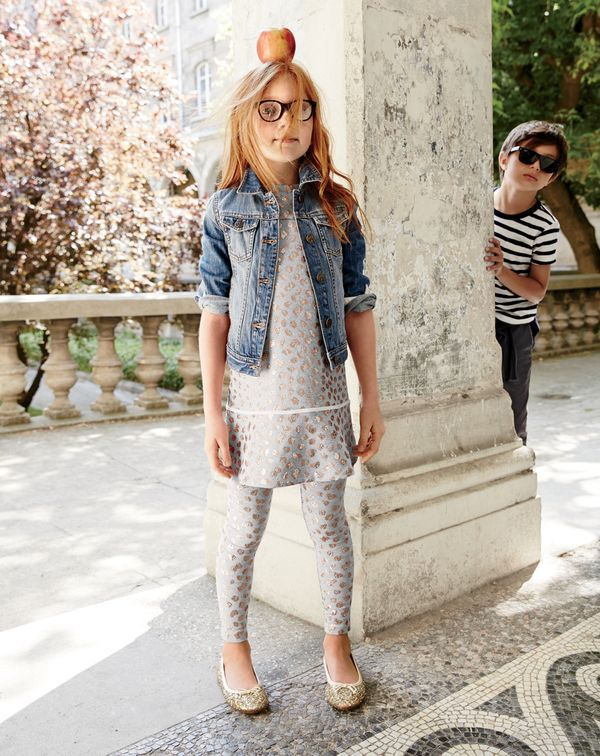 594632a7e J.Crew girls' washed denim jacket, sparkle leopard knit dress, Selima  Optique® for J.Crew crystal-clear glasses and classic glitter ballet flats.