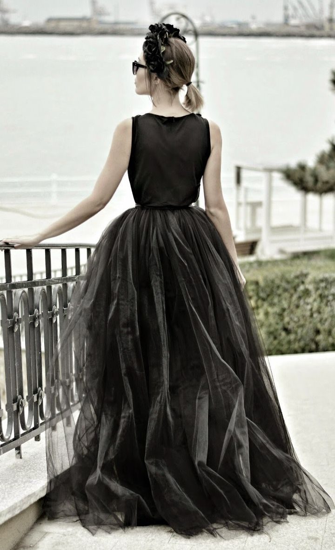 Black tulle floor length maxi skirt by juadore fashion black