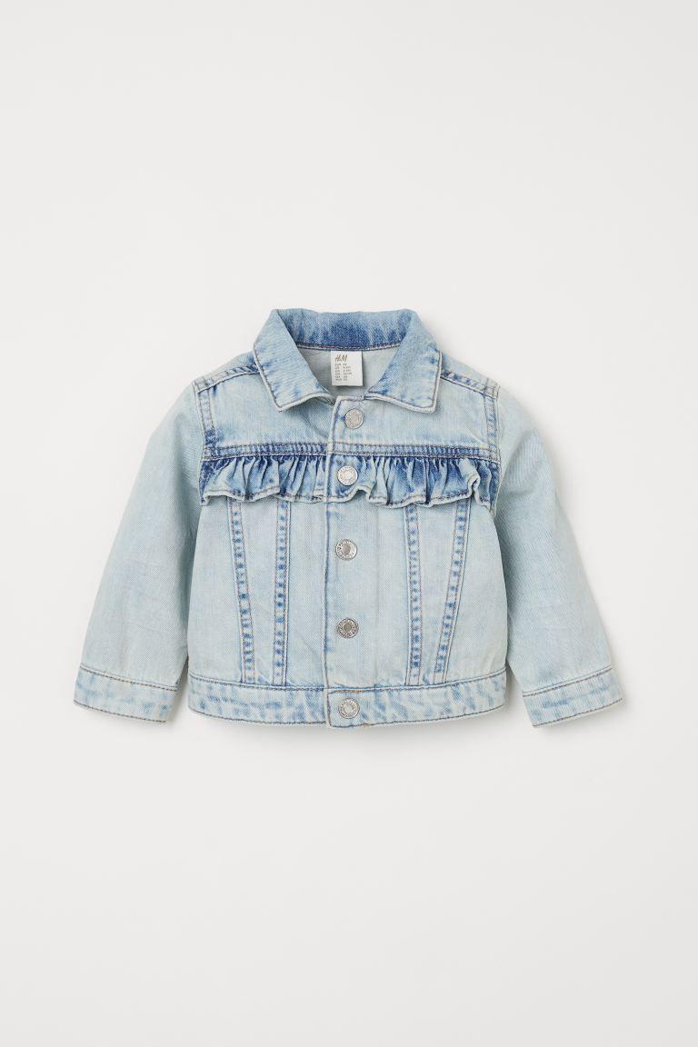 Ruffle Trimmed Denim Jacket Light Denim Blue Kids H M Us Light Denim Denim Jacket Girls Denim Jacket [ 1152 x 768 Pixel ]