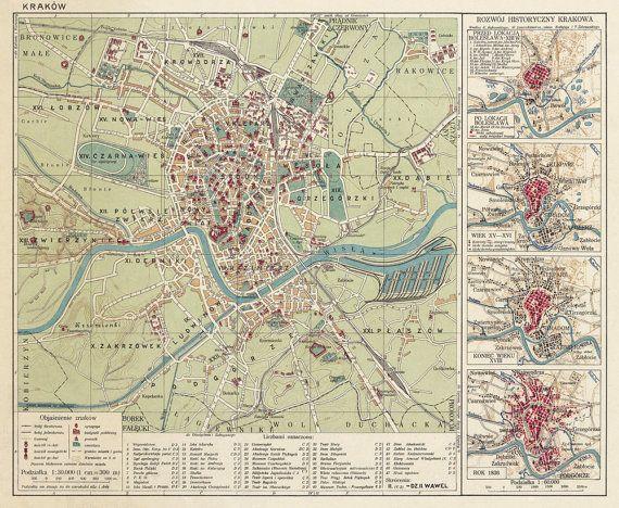 Vintage Map Of Krakow 1924 Vintage Maps Wedding Map