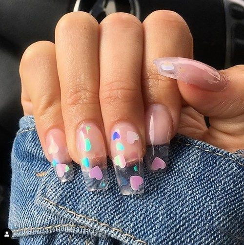 Moosie Blue Sheer Nails With Heart Decals Giving A Nod To That 90 S Jelly Vibe Nails Sheernails Jellynails Sheer Nails Heart Nails Holiday Nails