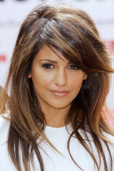 Dark brown hair with thick caramel highlights blended through out love this highlighted brown and caramel highlights with dark hair colour pretty haircut with side swept bangs pmusecretfo Images
