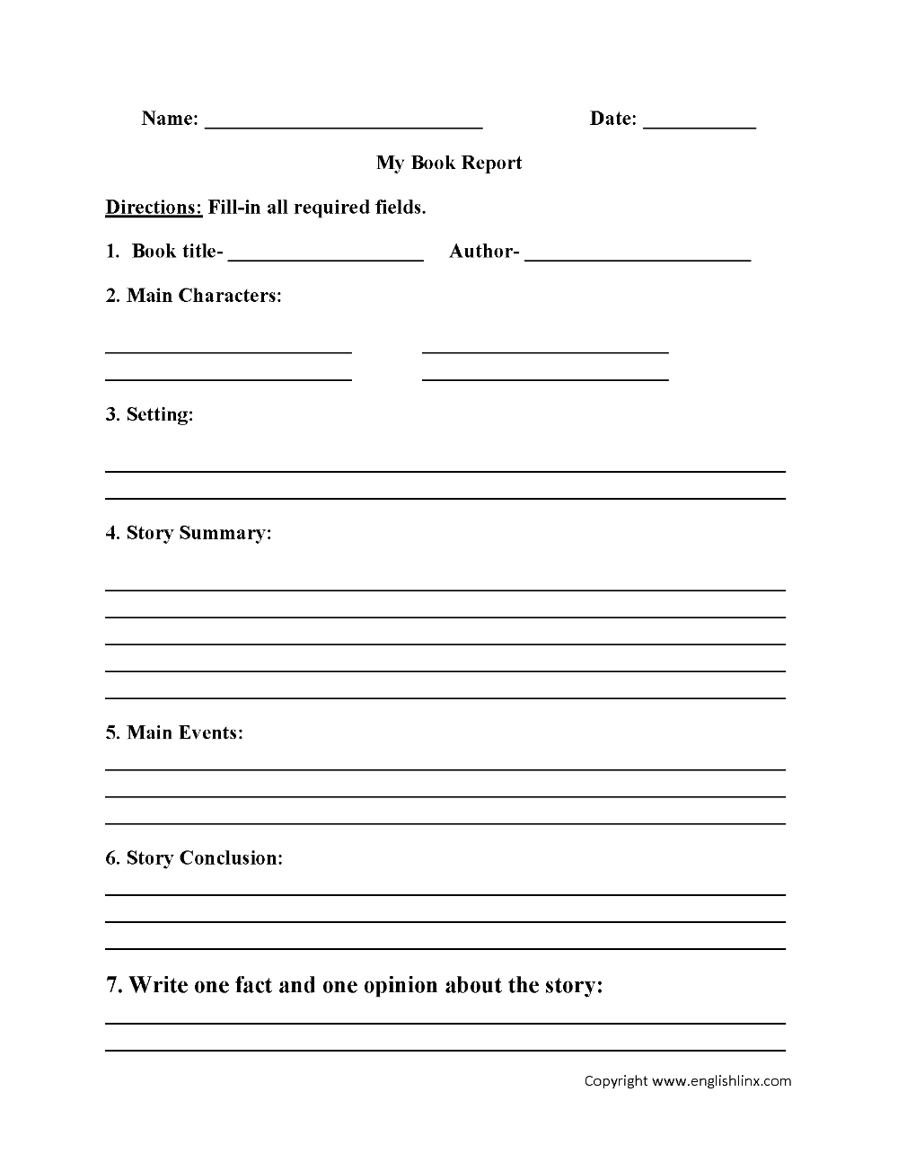 Englishlinx Book Report Worksheets Throughout Book Report Template 6Th Grade  - 10+ Professiona…   Book report templates [ 1294 x 1000 Pixel ]