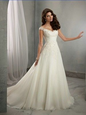 A-Line/Princess V-neck Sleeveless Court Train Applique Chiffon Wedding Dresses - Wedding Dresses