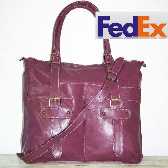 Glossy Dark Violet Tote Handbag Shoulder Cross-body by ChicLeather
