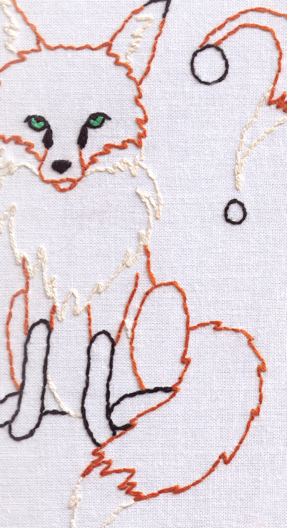 Fox Hand Embroidery Pattern, What Does the Fox Say?, Dog, Wildlife ...