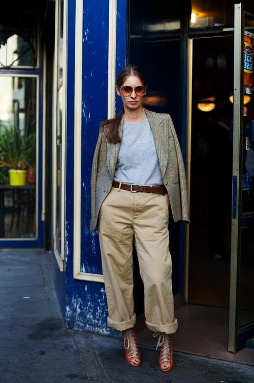 Loose chinos and a great pair of heels!