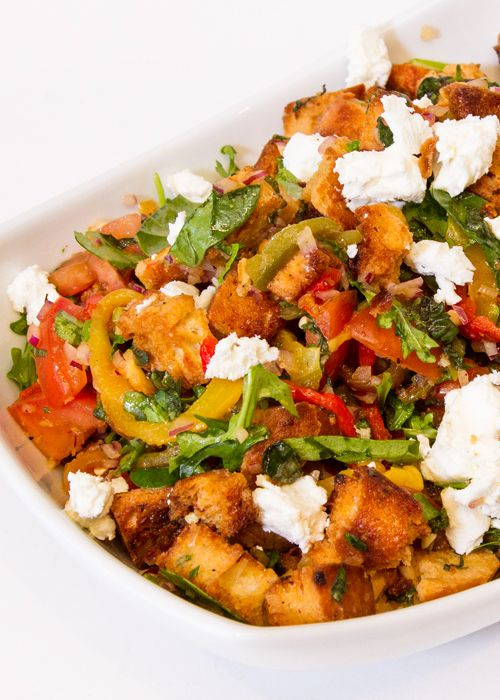 Roasted Red Pepper Panzanella With Arugula & Goat Cheese at CafeTecumseh.com