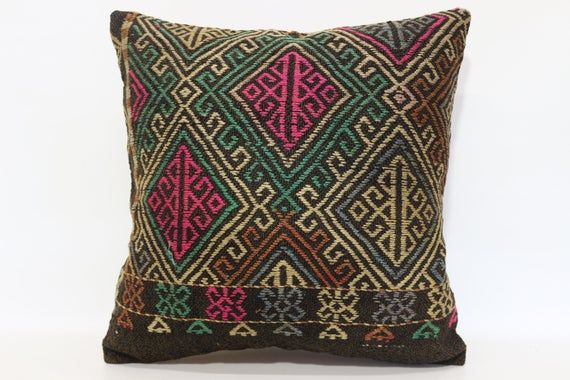 Turkish Embroidery Embroidered Kilim Pillow 20x20 Naturel Kilim Pillow Sofa Pillow Vintage Large Siz