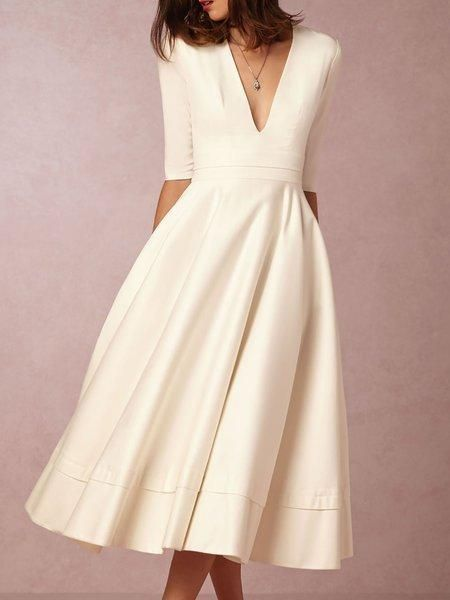 71ad683bae2 Swing Sexy V Neck Half Sleeve Party Dress – sheinlook