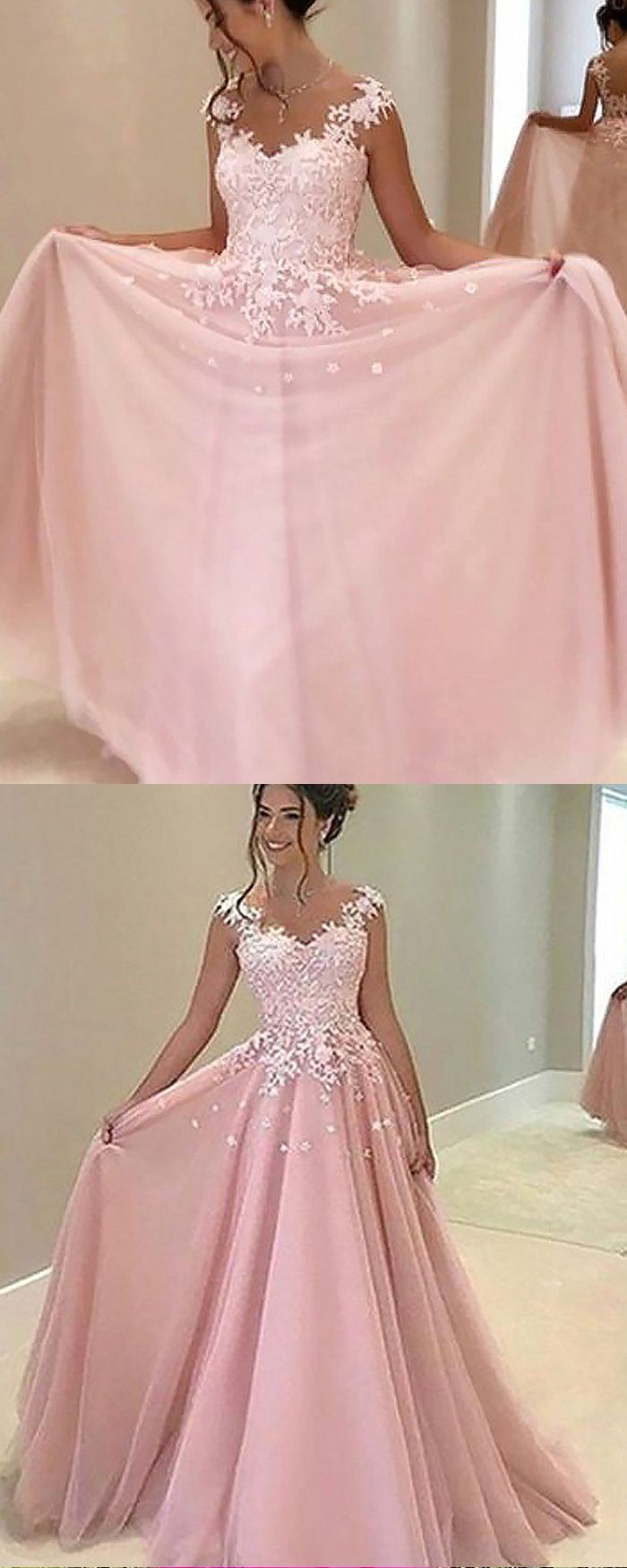Sheer neck appliqued pink chiffon long prom dress pm in