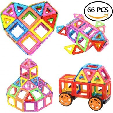 Magnetic Building Blocks Educational Toys for Kids 66 color stacking Magnet tile learning play set with wheels - STEM toy for Boys and Girls - toddlers and preschool children DIY fun ages 3 years , 4+