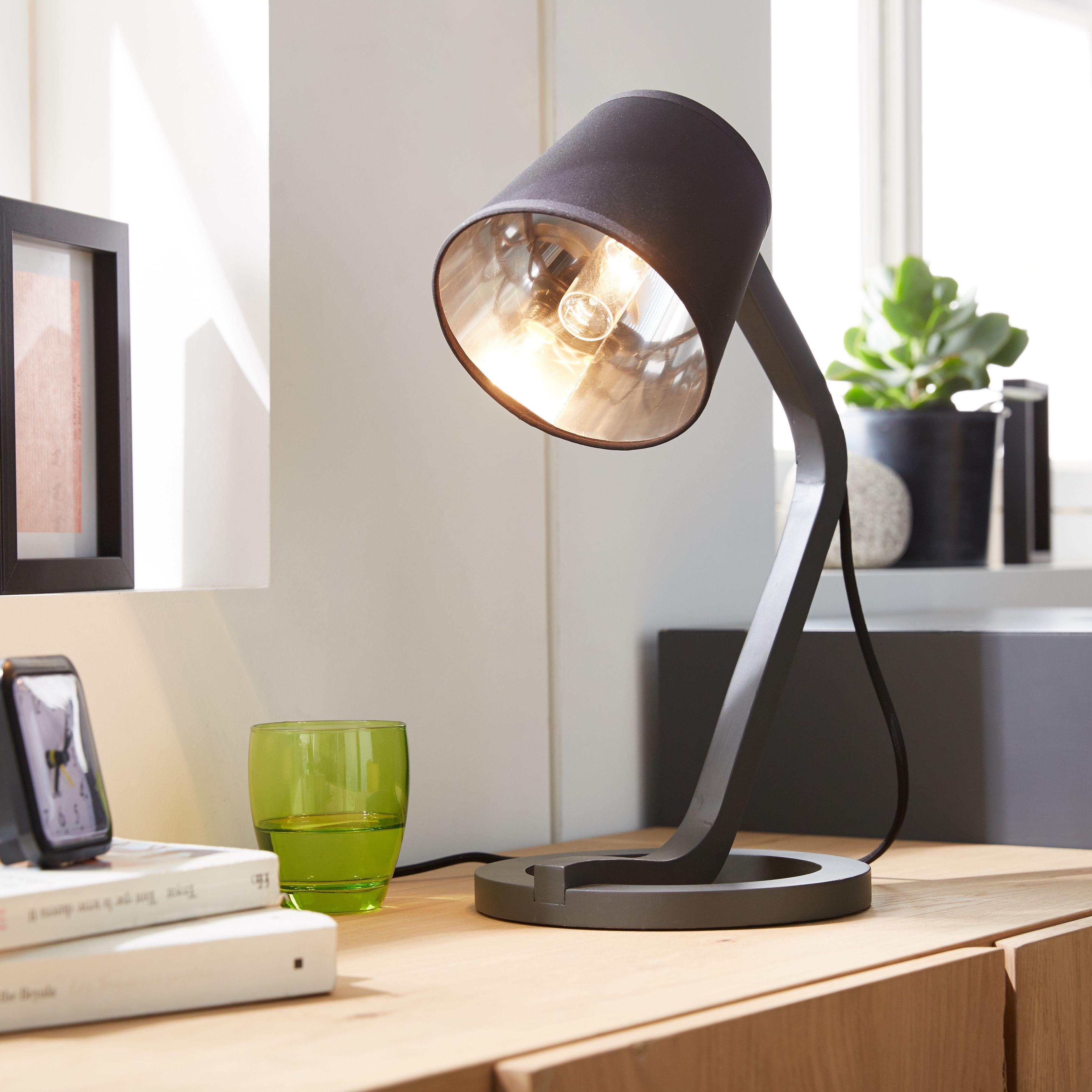 Mokuzai Lampe Poser En Ch Ne Et Coton Noir H41cm Alin A  # Table Tv A Roulette Alinea