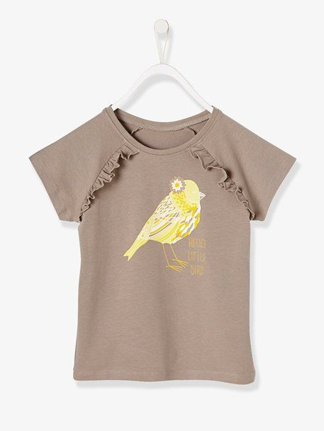 21bd354cc985a T-shirt fille à volants - gris/motif   kids styles   Shirts, T shirt ...