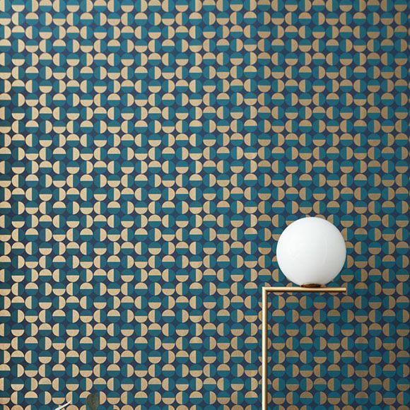 Papier peint Vertigo – Petits ronds vert canard et dorés