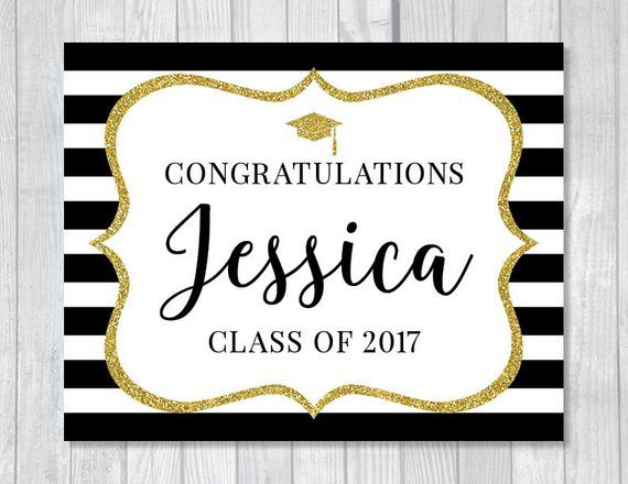 SALE Custom Congratulations 8x10 Printable Graduation Sign - Black