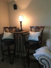 Media Room cozy spot for extra guest table and media lamp bought at hobby lobb Media Room cozy spot for extra guest table and media lamp bought at hobby lobb
