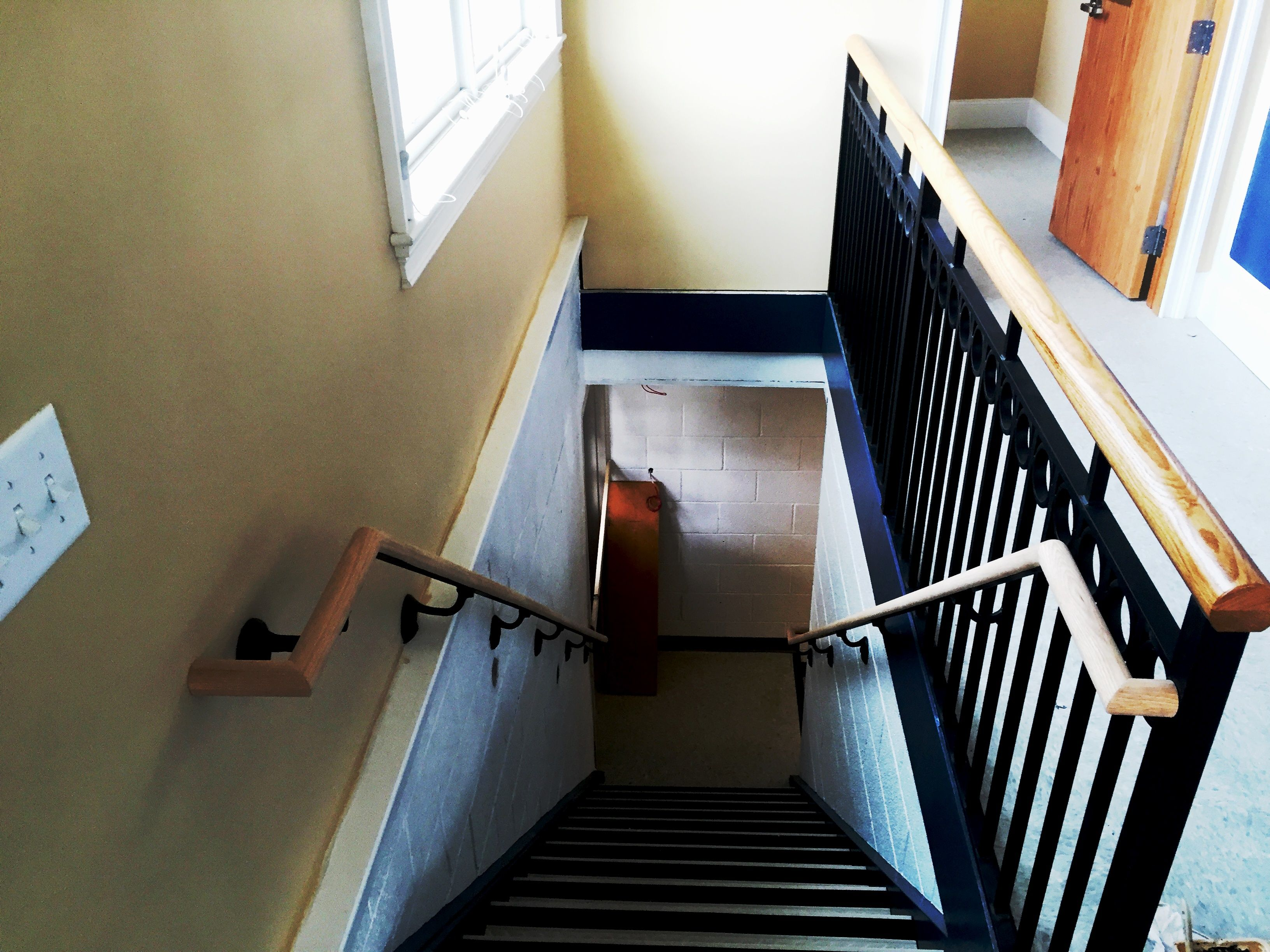 Decorative Interior Wrought Iron Railing with a wood top ...