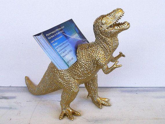 Dinosaur Business Card Holder Gold T Rex Desk Accessory Guy