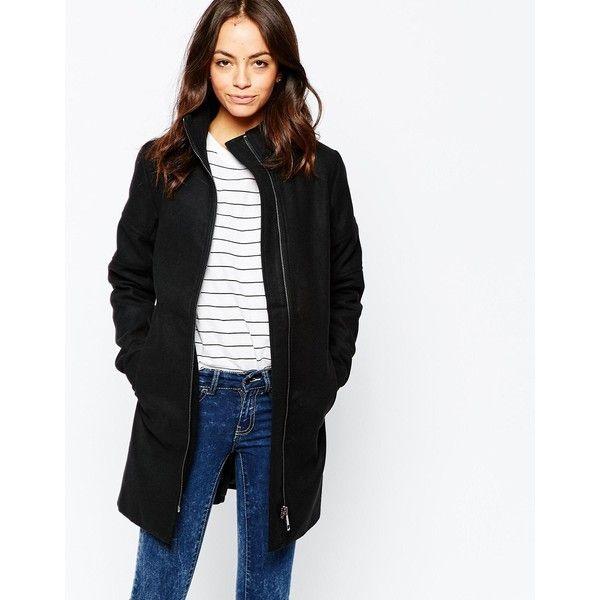 J.D.Y Biker Zip Detail Coat ($54) ❤ liked on Polyvore featuring outerwear, coats, black, black coat, biker coat and women coats
