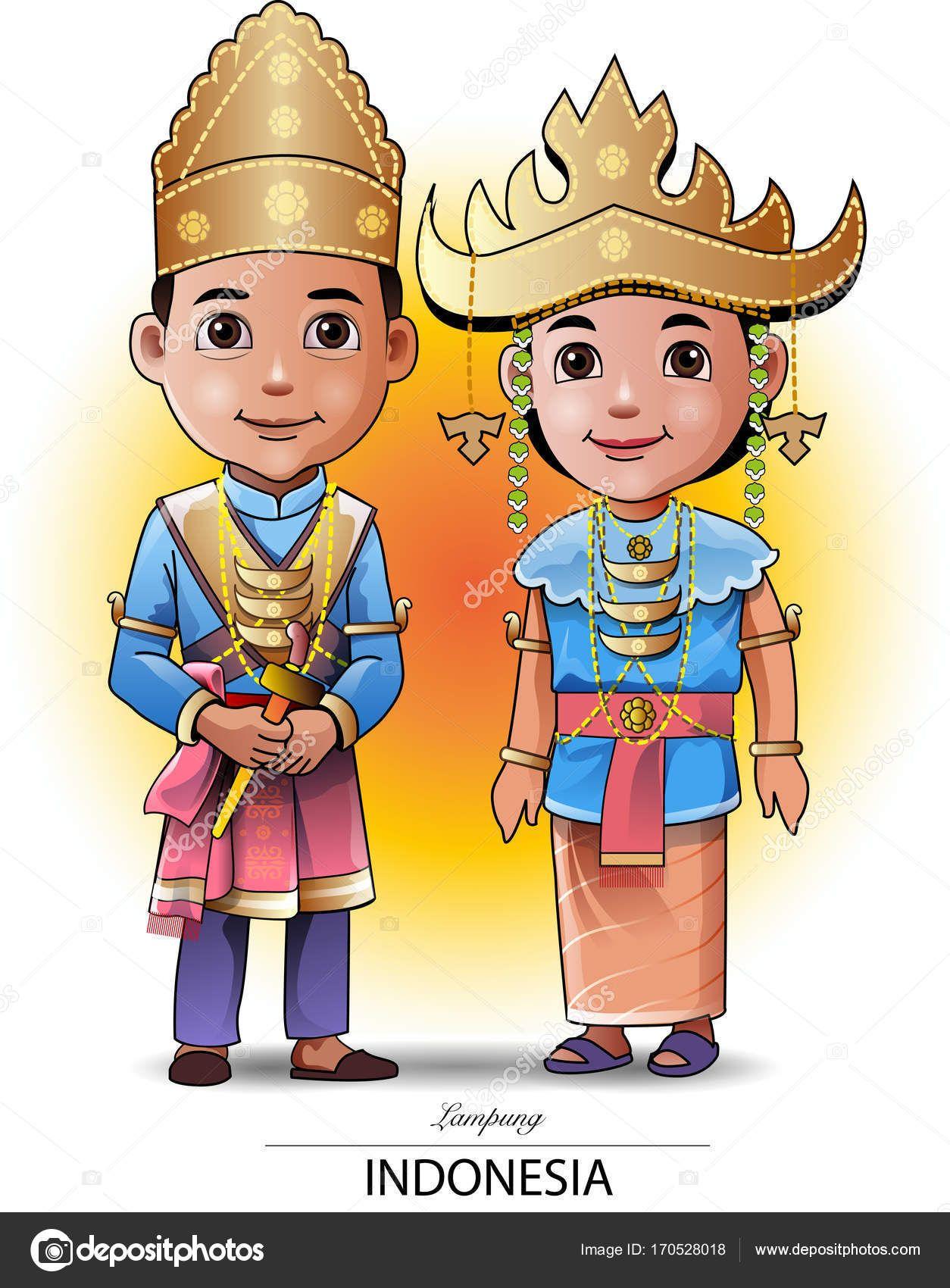 Gambar Kartun Pakaian Adat Lampung