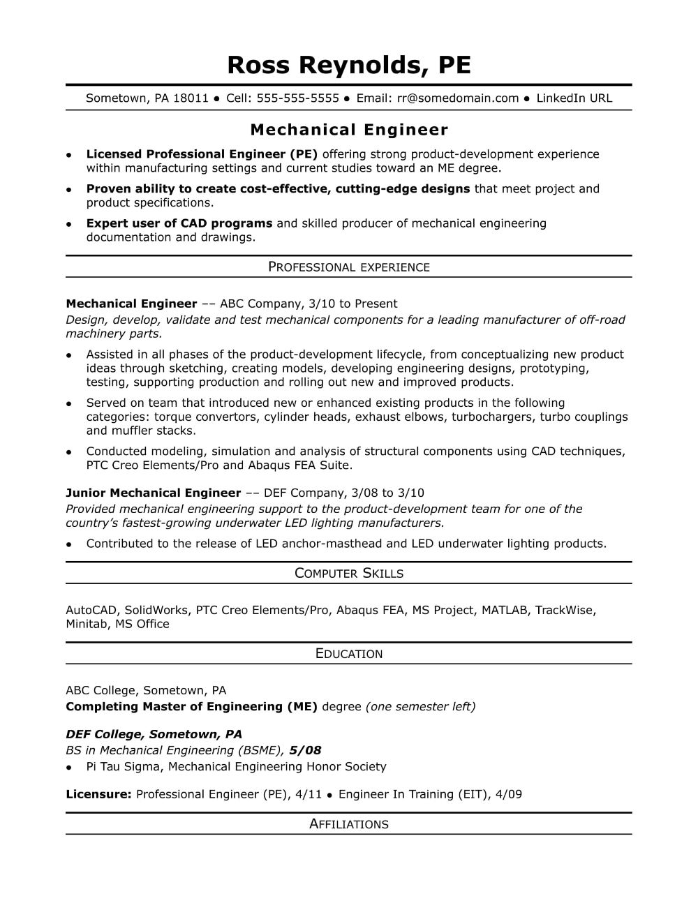 Resume Templates Engineering 7 Templates Example Templates Example