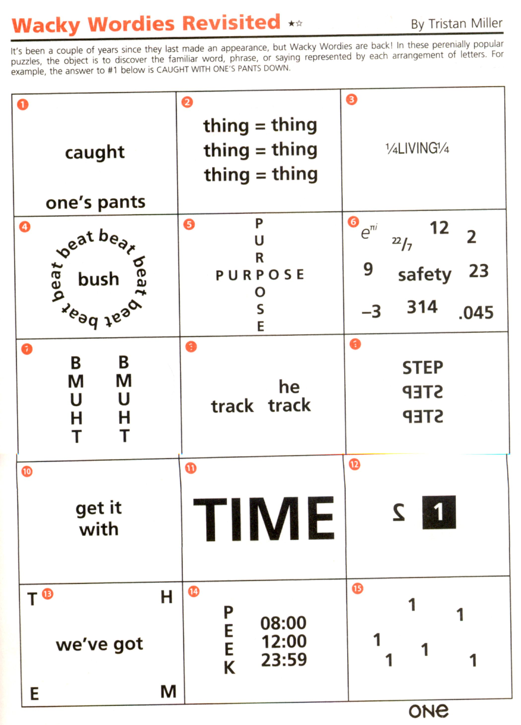 Wackie Wordies 92 Word puzzles brain teasers, Brain