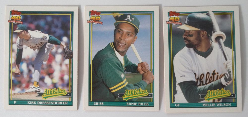1991 topps traded oakland athletics as team set of 3
