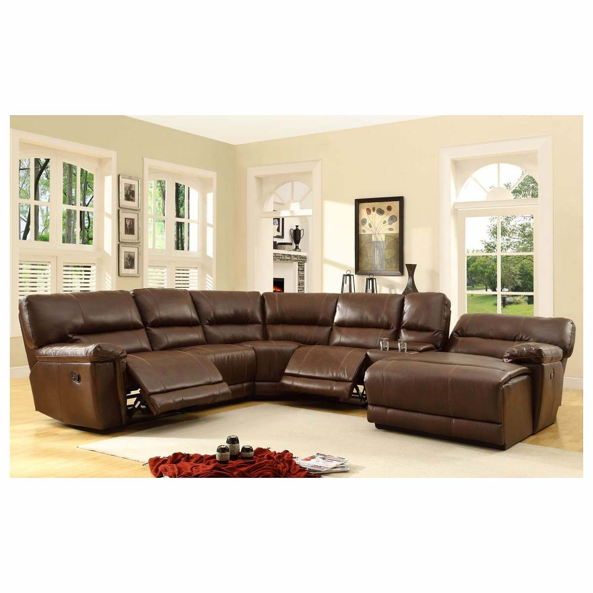 Beau 6 Pc Blythe Collection Brown Bonded Leather Match Upholstered Reclining  Sectional Sofa Set With Chaise