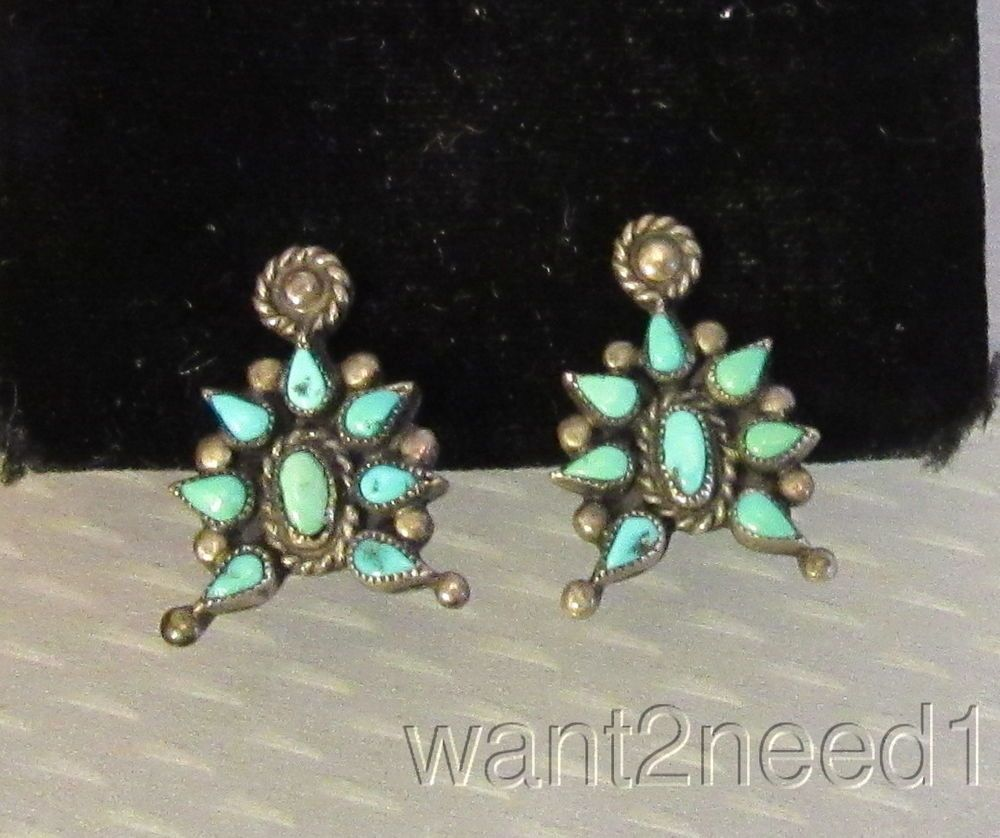 30s/40s old tribal STERLING SILVER TURQUOISE SCREW BACK EARRINGS pear cut burst