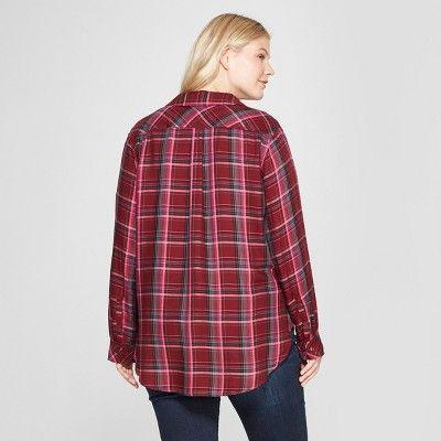198f09d3b44 Women s Plus Size Long Sleeve Plaid No Gap Button-Down Shirt - Ava ...