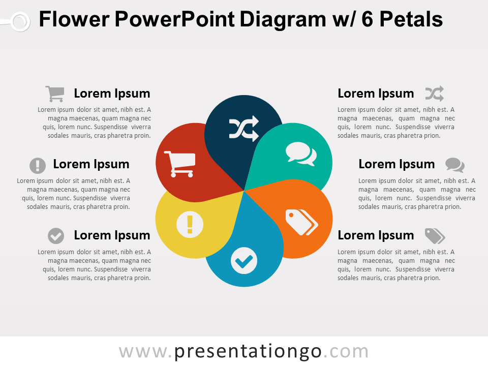 Flower powerpoint diagram w 6 petals presentationgo diagram free flower diagram with 6 petals for powerpoint colored graphic design with 6 options ccuart Gallery