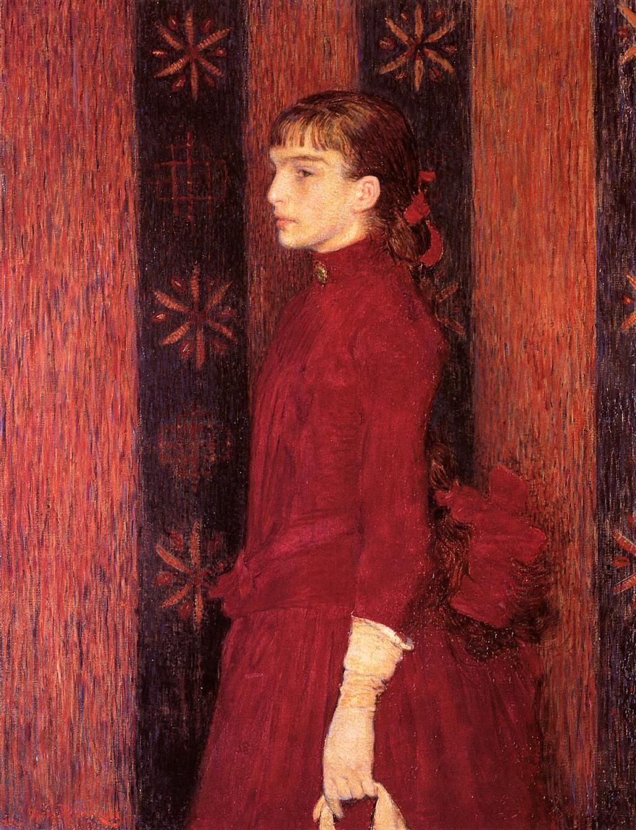 Portrait of a Young Girl in Red, c. 1886-1888 , by Theo van Rysselberghe