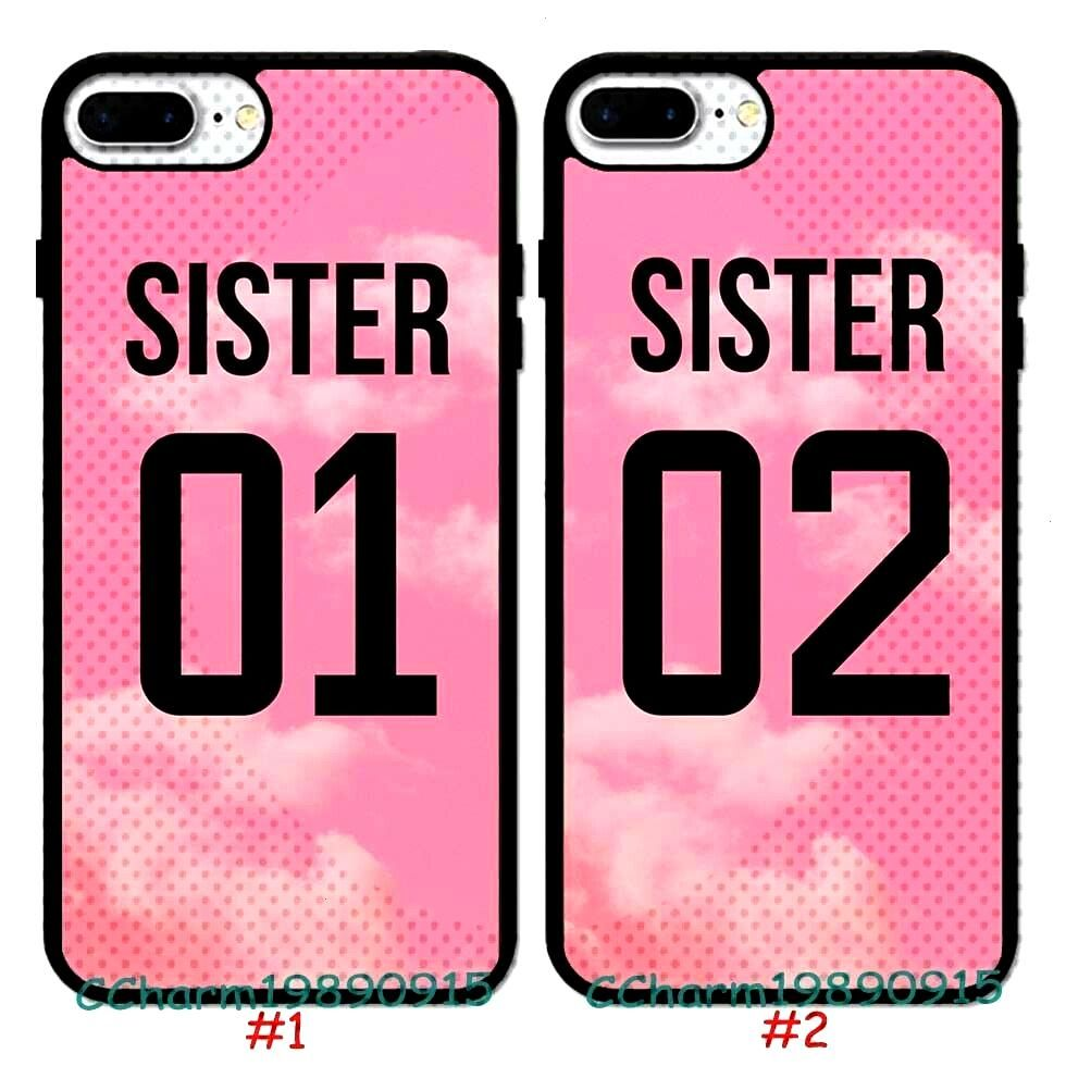 Schwester 01 & Schwester 02 Design Pattern Rubber Case für iPhone 8 XS & Samsung Galaxy S9 ...   -