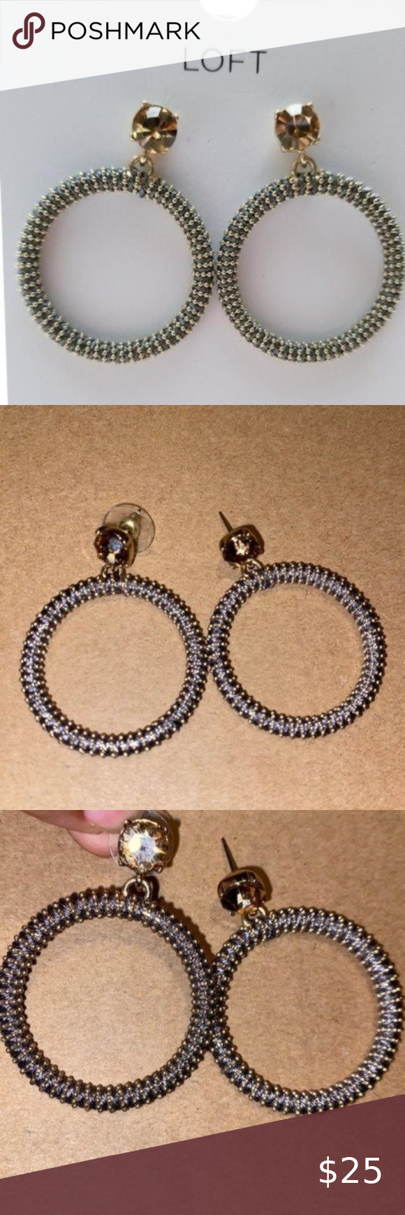 Ann Taylor LOFT Yellow and Gold Crystal Earrings
