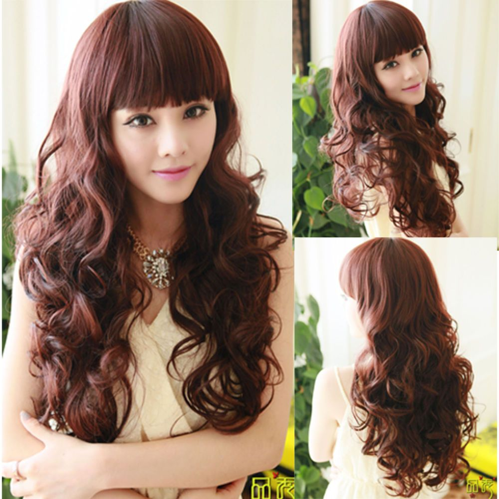 Womens charming curly long brown wig deep wavy hair full wigs
