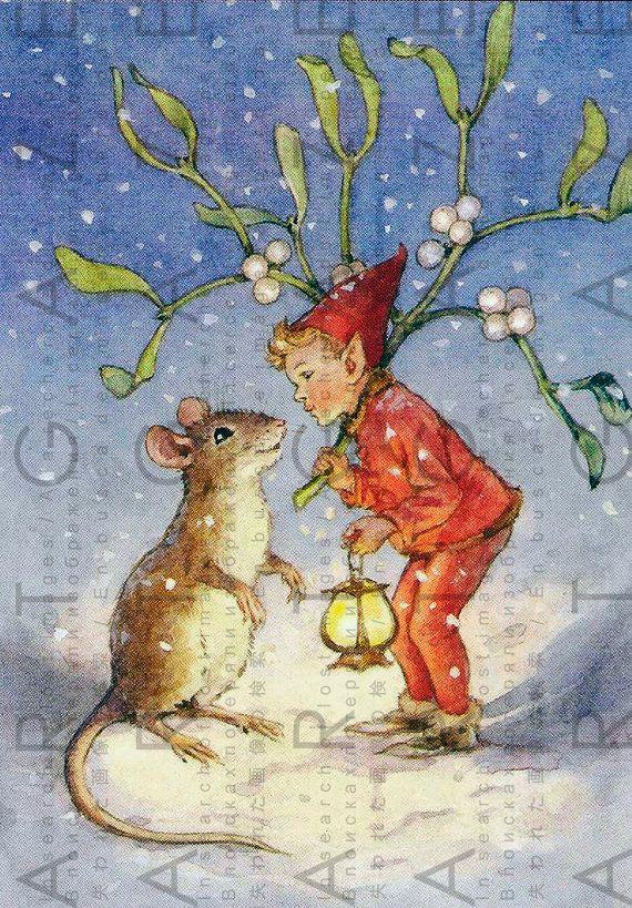 Lovely Elf Mouse Under Mistletoe Vintage Christmas Fairy Art Illustration Illustration Art
