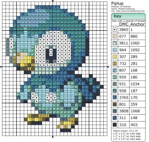 Pokémon – Piplup 20-30 x 30-40, Animals, Birdie's Patterns, Birds, Gaming, M - P, Pengiun, Piplup, Pokémon 0 Comments Dec 302015