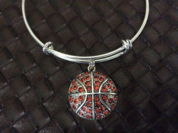 Basketball Charm on a Silver Expandable Bangle Bracelet Sports Team Coach Gift Adjustable