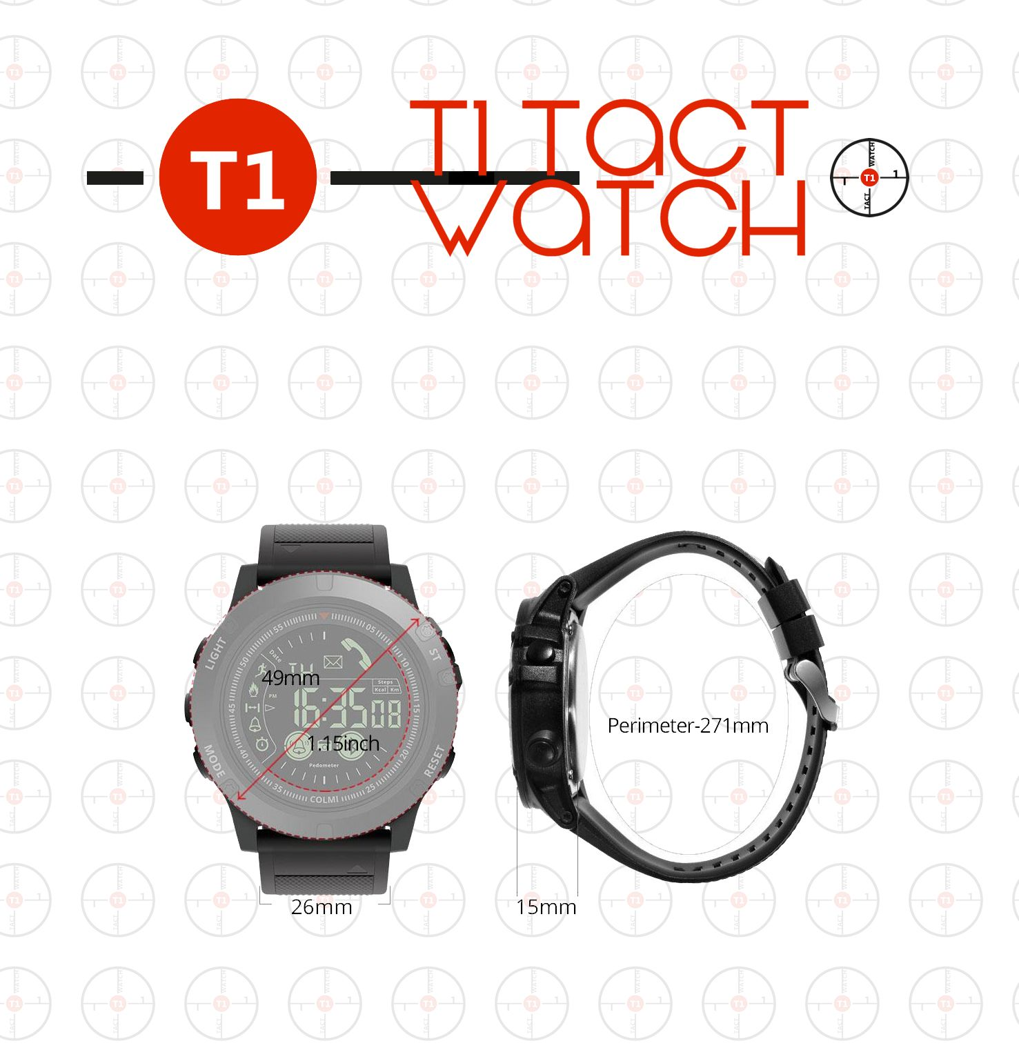 T1 Tact Smartwatch Measurements Face And Wristband With Images Michael Kors Watch Gshock Watch Smart Watch
