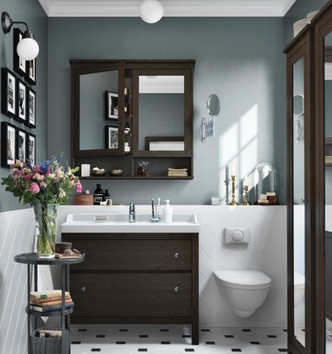 Two toned bathrooms, not grey though...blue red and yellow