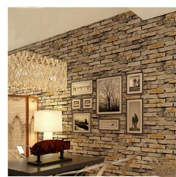 Pvc stone brick wallpaper waterproof 3d chinese style